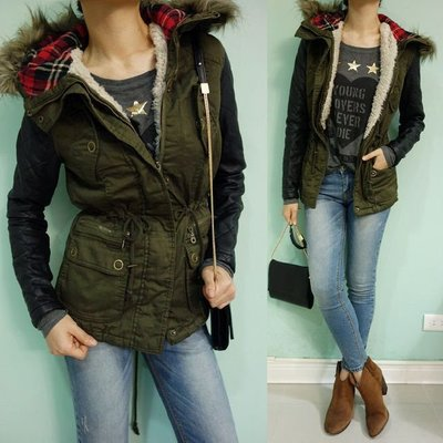 MISHIANA 休閒品牌 ATMOSPHERE 女生款棉質併接皮革袖內裡鋪棉保暖外套 ( 新款上市.現貨.特價出售)