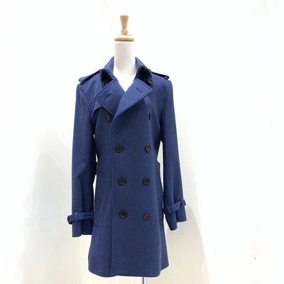 Burberry 男款風衣外套 藍色 46《精品女王全新&二手》