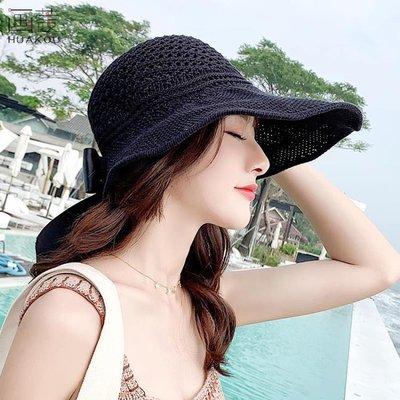 星空之下 草帽子女 夏天韓版防曬空頂遮陽帽沙灘百搭防紫外線遮臉太陽帽001