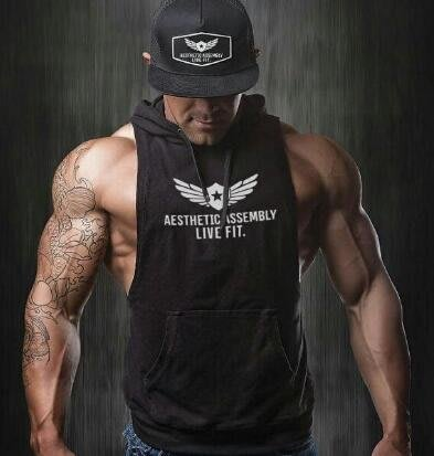 肌肉兄弟運動背心寬松透氣連帽坎肩休閑潮款背心健身訓練服打底衫—莎芭