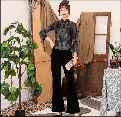 ~~Miss Goddess~~  改良版復古天絲蘇絨旗袍上衣女長袖日常中國風盤扣春秋季旗袍短款