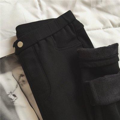 Dora【CC1367】7折出清!現貨刷毛加厚奶油黑褲S