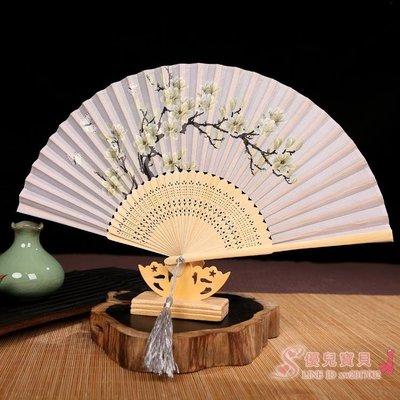 中國風古典花鳥折扇女式日用小扇子古風綾絹竹扇