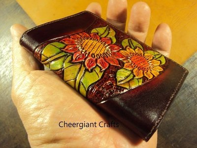 向日葵名片皮夾巧將皮雕手工皮件真皮內裡可訂其它圖案顏色Cheergiant  visiting card pouch