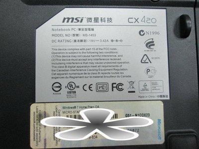 台中筆電維修:微星 MSI cx420/MS-1453 開機無反應,開機斷電,顯卡故障花屏,面板變暗.無畫面,泡水機維修