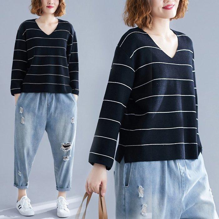 V領柔軟羊絨條紋針織衫 寬鬆開衩毛衣女上衣【B215162】