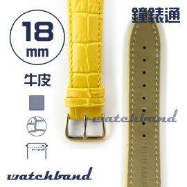 【鐘錶通】C1.40AA《霧面系列》鱷魚格紋-18mm 霧面橙黃(手拉錶耳)┝手錶錶帶/皮帶/牛皮錶帶┥
