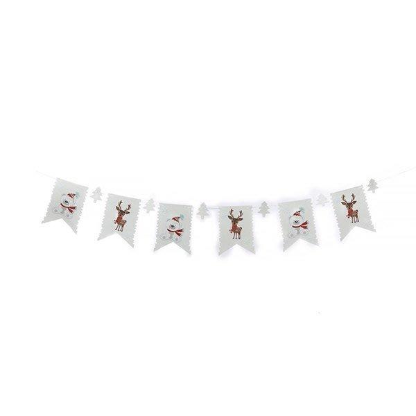 節慶王【X124903】串旗-白旗 麋鹿+熊,聖誕佈置品/聖誕節紙品/串旗/掛飾/吊飾