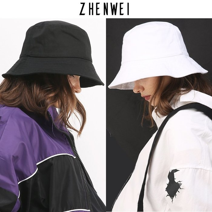 創意 服飾周邊真蔚大碼大頭圍小號漁夫帽女防曬盆帽夏季黑白色純色簡約遮臉帽子