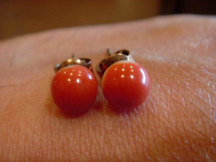 ﹣﹦≡|璟藏古玩|天然MOMO紅珊瑚耳飾一對(保真海珊瑚,決非沙丁或海竹喔)∥(直購價,只給第一標)∥≡﹦﹣