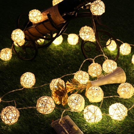 女生藤球彩燈閃燈串燈網紅裝飾燈房間佈置宿舍LED小物星星藤燈