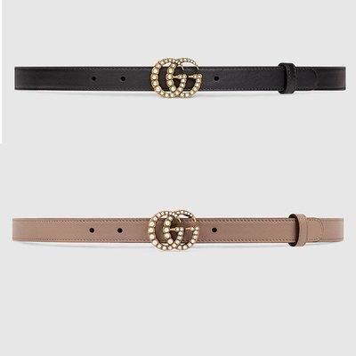 【代購】 Gucci  GG LOGO  珍珠細版 皮帶 2公分