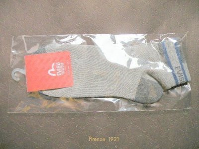 全新 Made in Korea 韓國製造【EVISU】短襪 Vintage Jean Short Sock,,Gray Colour灰色,8寸長(原$180)
