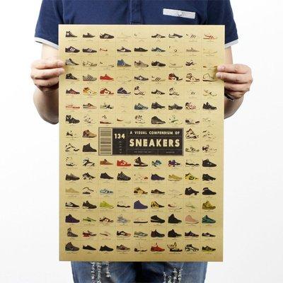 【貼貼屋】歷代球鞋大集合 懷舊 復古風格 牛皮紙 海報 壁貼 店面裝飾 經典電影海報 317