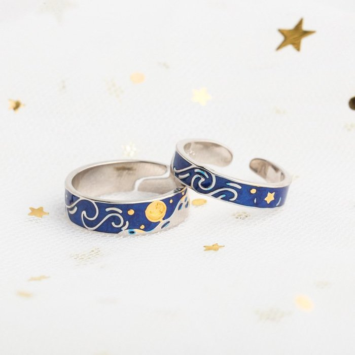 【實用】梵高戒指星空女款韓式時尚優雅海藍手飾直銷代發韓版/韓國風