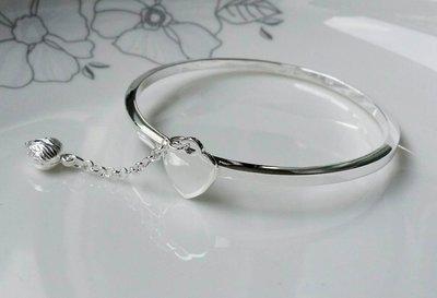 嗨,寶貝銀飾珠寶* 925純銀☆999足銀 時尚精品 簡約方形 心形 蓮花垂墜實心手環 手鐲