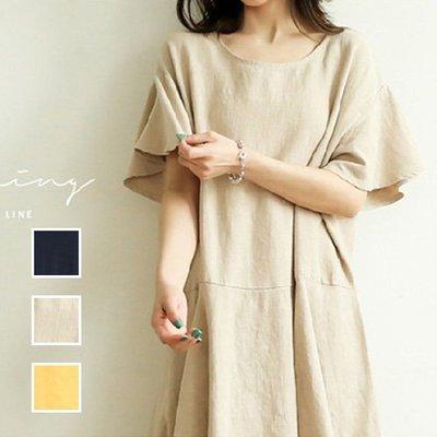 文青棉麻短袖洋裝亞麻洋裝 自然垂墬大袖口下擺不規則連身裙 艾爾莎【TGK6624】