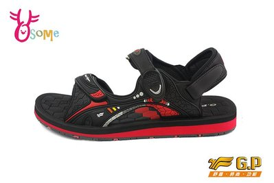 GP涼鞋 男款 立體刻紋磁扣兩穿防水涼鞋I6670#黑紅OSOME奧森童鞋