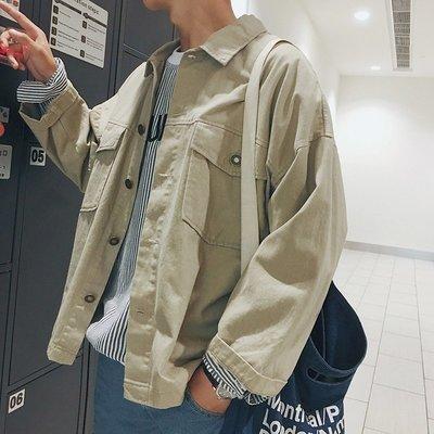 【柒姐姐】初秋薄款寬松純色青年工裝夾克日系潮男休閑外套青少年百搭上衣