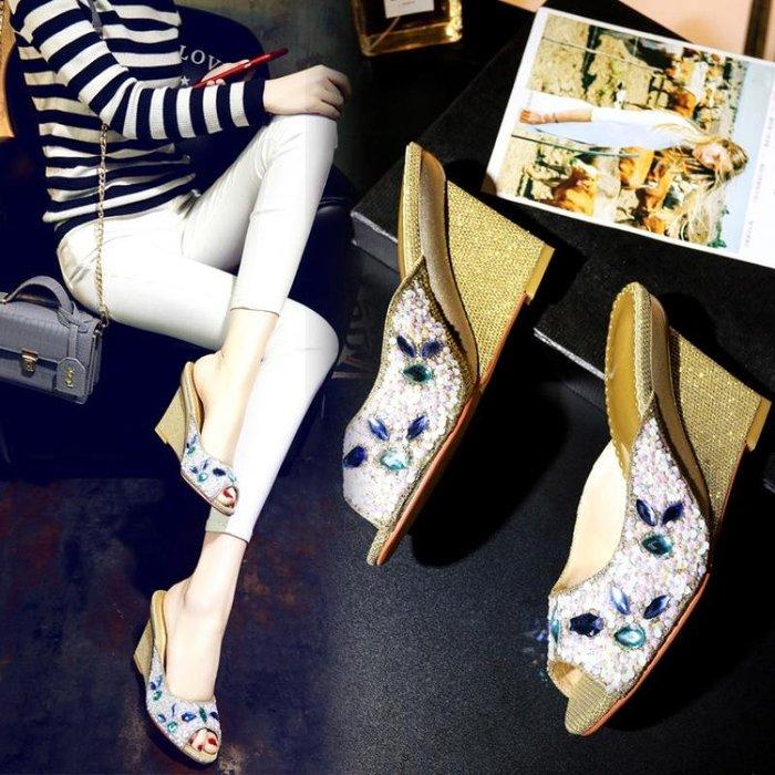 涼鞋 拖鞋 彩色水鉆亮片牛筋底楔型高跟魚嘴半拖涼女18夏新款33-40 WN8 5415