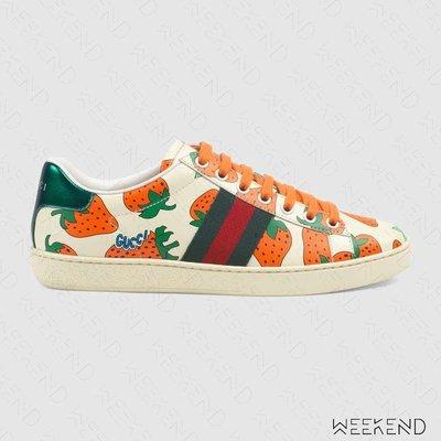 【WEEKEND】 GUCCI Ace Strawberry 草莓 復古 皮革 休閒鞋 387993 19春夏