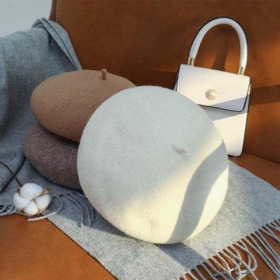 貝雷帽女秋冬季英倫韓版百搭日系黑色羊毛呢蓓蕾帽復古畫家帽子潮
