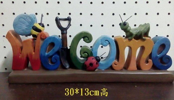 【浪漫349】田園的昆蟲  蚱蜢瓢蟲蜜蜂 圓鍬welcome 迎賓擺飾 波麗材質