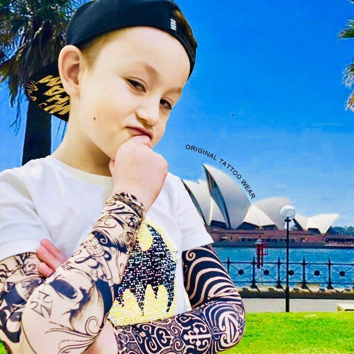 澳洲原創紋身衣著ORIGINAL TATTOO WEAR小孩 兒童 孩童防曬袖套 紋身袖套 刺青袖套預防太陽產生的痣跟斑