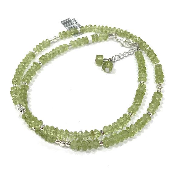 『純天然水晶量販』天然橄欖石 雙圈純銀手鍊 約4mm 鑽石切角度 半寶石 招財 幸運 希望 情人節 生日 禮物