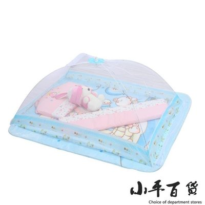 兒童蚊帳嬰兒床防蚊罩加密寶寶蚊帳罩折疊支架加粗小孩紋帳免安裝【小平百貨】