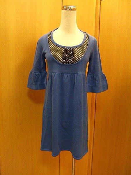 ~IENA~ 寶藍拼接點點雪紡紗花苞袖連身針織假兩件式短袖洋裝~S