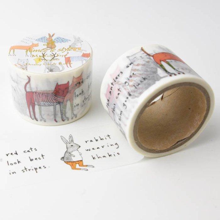 《散步生活雜貨-和紙膠帶》日本進口 Aimez le style 貓&兔 38mm 單捲 紙膠帶