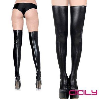 滿千送120ML潤滑液-虐戀精品CICILY金屬拉鍊高筒漆皮長筒襪高筒襪黑M50032