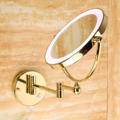 百變出口德國全銅雙面美容鏡浴室壁掛旋轉化妝鏡折疊鏡衛生間LED鏡子小草 台北市