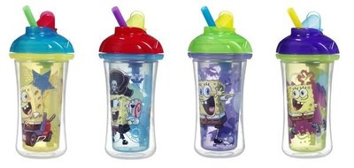 [小寶的媽] 美國Munchkin Straw Cup 神奇吸管喝水杯 吸管學習杯 海綿寶寶款 (266 ml)