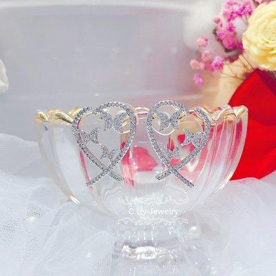 💎1337、名媛夢幻精品愛心蝶框輕奢耳環💎正韓飾品 耳環 珠寶 925純銀針 EF038