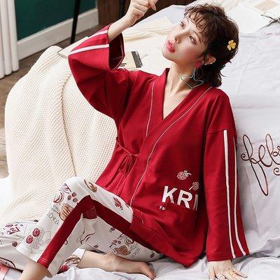 【星語】大紅草莓和服睡衣女秋季長袖純棉學生家居服套裝春夏空調房冬天A22