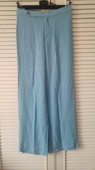 Ralph Lauren 綠標100% SILK 天藍色側扣休閒寬腿長褲