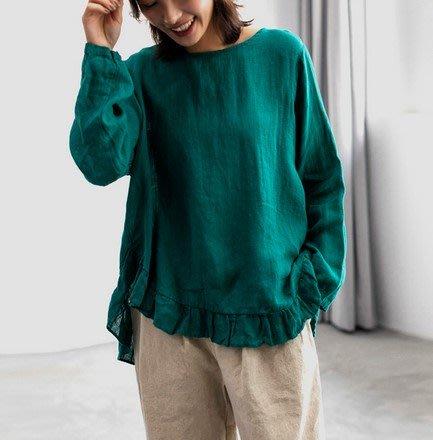 【An Ju Shop】原創設計文藝範 秋冬款 寬鬆文青大碼麻棉襯衫長袖時尚上衣~CI035016
