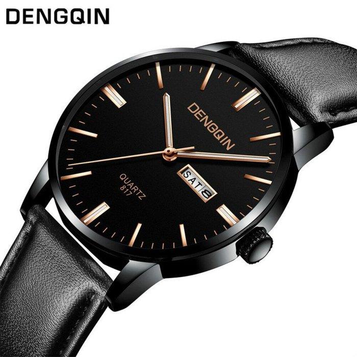 DENGQIN 正品 簡約主義 以簡為美 經典帶日期星期超薄時尚型男石英錶 男女適戴錶款 情人 送禮