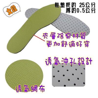 《F.F.SHOP》KTA-0015 翠玉綠除臭透氣平面鞋墊 女用款(買1雙送1雙)