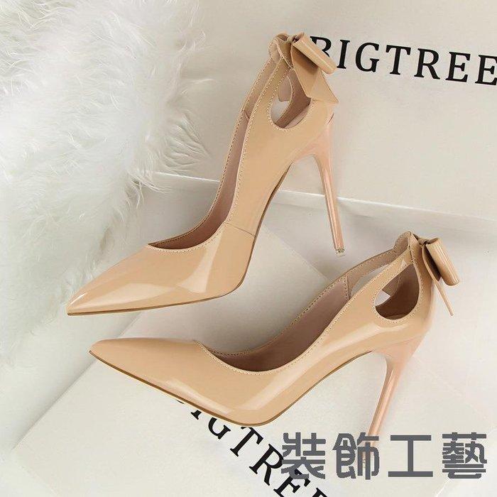 3168-8韓版性感顯瘦高跟鞋細跟高跟淺口尖頭漆皮鏤空后蝴蝶結單鞋