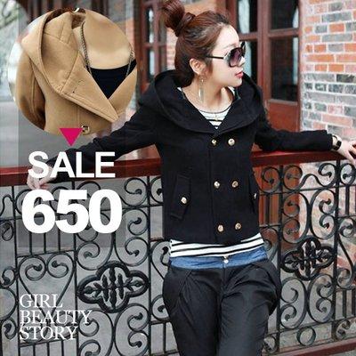 超哥小舖【C8046】現貨韓版加厚雙排扣連帽休閒長袖短外套毛呢大衣外套