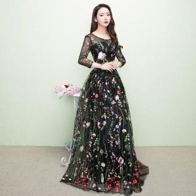 【職業裝】CK8202*名媛宴會晚禮服長款 花朵仙女氣質顯瘦演出主持人女連衣裙