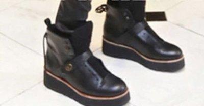 COACH 中筒靴 牛皮 轉釦 黑色 皮靴
