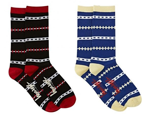 【 超搶手 】全新正品 2014 春季 最新款 STUSSY JONATHAN SOCKS 格子 條紋 襪子 黑色 藍色