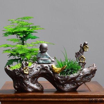 花盆 花器 陶瓷擺飾 陶瓷個性文竹發財樹植物中國風綠蘿簡約帶托盤創意小房子花盆專用
