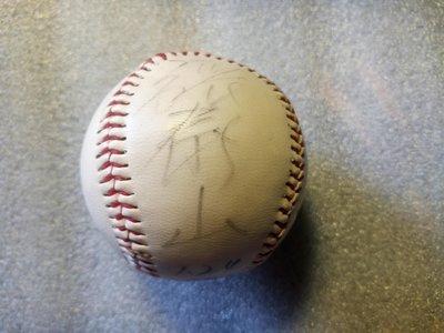 張泰山 早期味全龍隊 全名簽名棒球 加註日期: 1996年7月24日 奇異筆 清楚但是些微模糊。森林王子最年輕新人王紀錄