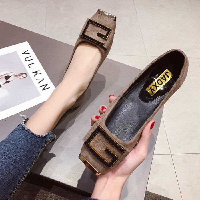 網紅豆豆鞋女2019新款韓版百搭方頭淺口金屬扣平底瓢鞋絨面單鞋潮