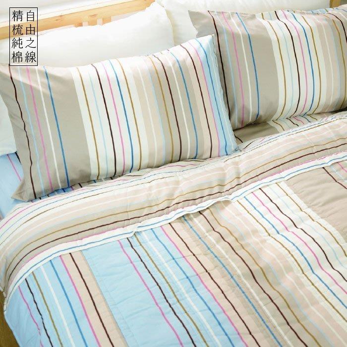 MIT精梳棉【自由之線】加大/床包兩用被套組-絲諾